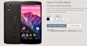 Nexus 5, Nexus 7 LTE now available in Google Play Store India