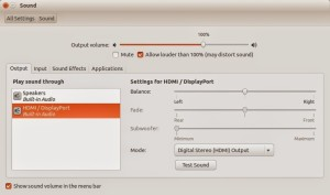 Enable HDMI audio on TV from your Ubuntu laptop